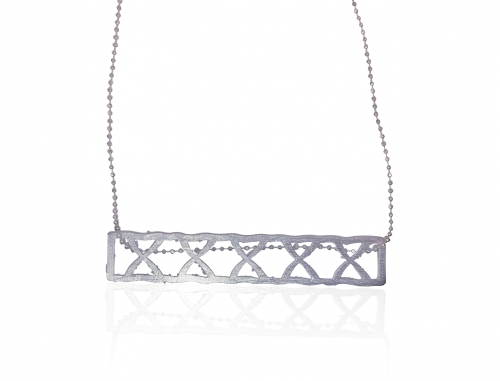 Sterling Silver Rectangle Cross Necklace