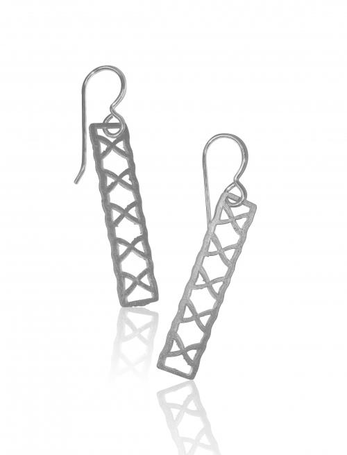 Sterling Silver Rectangle Cross Earrings